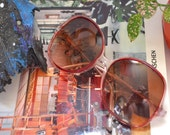 80s Oversized Sunglasses, Huge Retro Granny Sunnies, Pink and Red Glasses