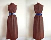 50s 60s Striped Maxi Dress, Turtleneck, Sleeveless Dress, Ribbed, Retro, Mid Century, Dress with Slit, Small