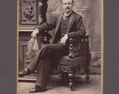 Cabinet Card of a Relaxed Man Reading the Newspaper