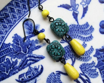 Teal Yellow Tribal Wooden Rustic Earrings on Black Hooks - Carved