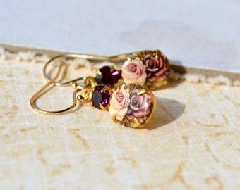 Vintage Glass Earrings, Limoges Cameo Earrings, Gold Fill Earrings, Vintage Style Jewelry, Floral Rhinestone Drop Earrings, Gift for Women