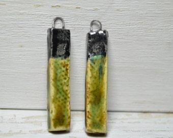 Ceramic Bead Pair -Earring Bead Pair- Rustic Bead Pair -Wired Beads - Bead Drops - Southwestern -Ceramic Art Beads -Craft Supplies z50