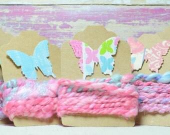1 yd Vegan Fiber - Handspun - Flax - Cotton - Soy Silk - Handdyed- Macrame - Embroidery-Jewelry Making- Cord- Craft Supplies -FLOURISH
