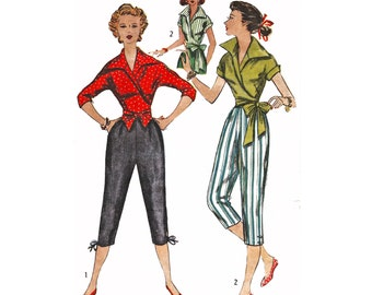 RARE 1953 Pedal Pushers, Capri Pants, Lower Edge with Ties or Buttons, Kimono Sleeve Wrap Top, Short or 3/4 Sleeve, Simplicity 5244 Bust 32""