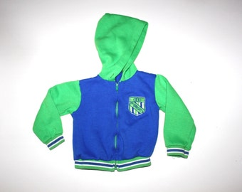 RETRO BOYS HOODIE - Vintage Baby Boy - Jr Varsity - Green and Blue