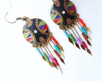 Black earrings, gypsy earrings, tribal earring, boho earrings, shield earrings, black jewelry, gift ideas, enamel earring, beaded earrings