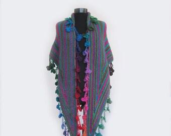 Shawl, Knit Rainbow leaf shawl, hand knit shawl, Bohemian knit shawl,