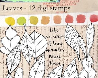 Leaves - a variety of leaf shapes and a sentiment - 12 digi stamp set