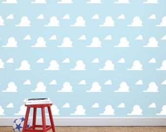 Toy Story Inspired Cloud Pattern -Wall Art Vinyl Decal Cloud Pattern for Kid's Rooms, Play rooms, Bedrooms, Day Cares, Schools, Libraries
