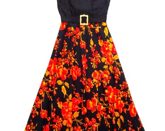 Vintage 70's Floral Print Maxi / Evening Dress UK Size 10