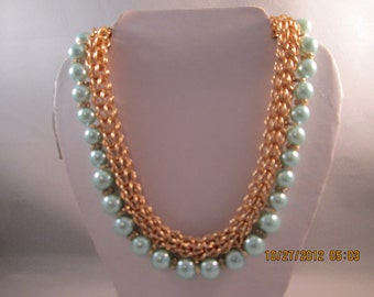 Gold Tone Chain Choker Necklace with Light Blue Pearls and Clear Rhinestone Spacers