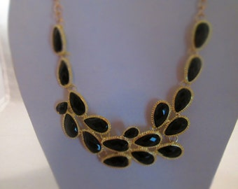 SALE Bib Necklace with Black and Gold Tone Pendant on a Gold Tone Chain