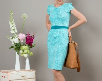 "Dress ""Nele"" with cosy pockets in turquoise pattern"