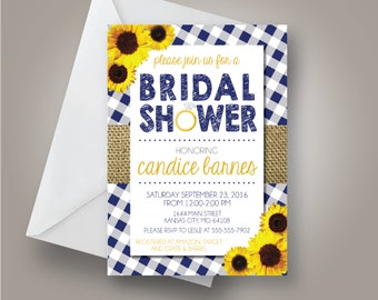 Sunflower Country Bridal Shower Invitation, Summer Bridal Shower Invitation, Tablecloth and burlap, 5x7