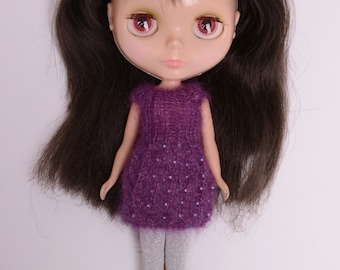 Blythe doll sized beaded purple mohair and silk blend knitted dress for Blythe, Pullip, Dal. Licca, Barbie or similar dolls