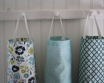 THREE Pack Blues and Greens Plastic Bag Dispenser, Kitchen Decor, Housewares, Cottage Chic Kitchen