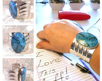 Chrysocolla Cuff, Sterling Silver Jewelry, Wide Cuff, Stone Bracelet Cuff, Blue Stone Bracelet, Wide Cuff Bracelet, Natural Stone Cuff, SS