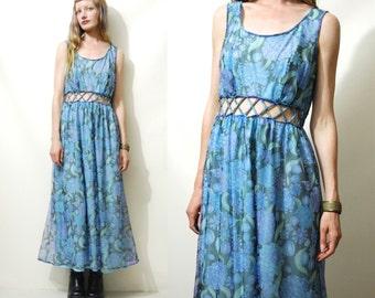 SHEER FLORAL Dress 70s Vintage Open-Waist Blue Layered Long Maxi Floaty Bohemian Boho Hippie 1970s vtg M