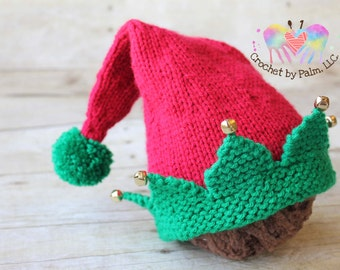 Hand Knit Christmas Elf hat, Baby Elf hat, Christmas hat, Newborn Photography prop --- Made to order