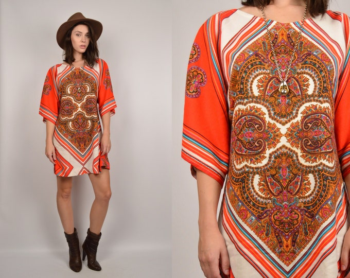 70's Paisley Print Shift Mini Dress