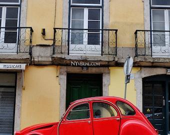 Lisbon vibrant red car, Portugal. Original Fine Art Street Photography. Lisboa vintage look
