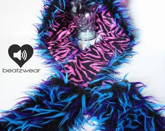 Festival hood - CUSTOM scoodie faux fur festival hat rave kitty bear rabbit faux fur animal hat faux fur hat hood