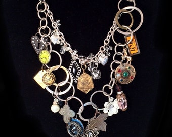 Driving through His garden's gate with the music on... Repurposed, Salvaged Statement Charm Necklace with Found Objects Lovingly Chosen