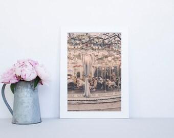 Paris Photography Print, Paris carousel Photo, Paris Wall Art, Carousel art