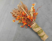 Bunch of Real Bittersweet Vine Branches and Broom Corn Sorghum: Natural Fall Autumn Halloween Thanksgiving Decor Bouquet Centerpiece