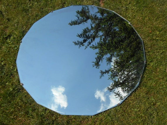 Extra large frameless round mirror with geometric by for Extra large round mirror