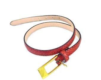 Vintage woven leather belt in red brown with gold solid brass metal buckle, ladies size small s