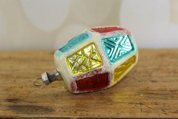 Figural Mercury Glass Lantern Ornament, Shaped, Hand Painted, Hand Blown Glass, Vintage Mercury Glass