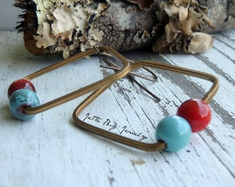 Retro Chic- rustic enamel beads. turquoise. cherry red. square geometric. vintage brass squares. minimalist earrings. Jettabugjewelry