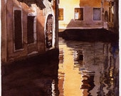 Watercolour Giclée print Venetian houses reflected in water