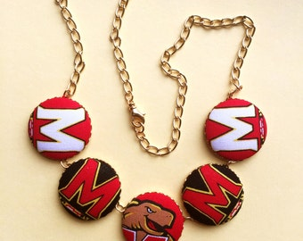 University of Maryland Fabric Covered Button Necklace