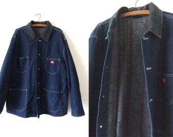 Dickies Denim Chore Coat - Blanket Lined Corduroy Collar Jean Barn Coat 90s Work Wear Minimal Field Jacket - Mens XL / XXL