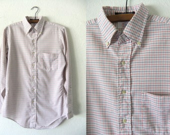 Minimal Checked Oxford Shirt - Classic Preppy Patterned Soft Long Sleeve Button Down Dress Shirt - Mens Small