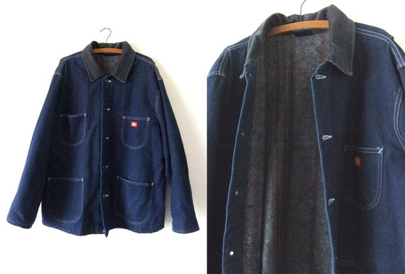 Dickies Denim Chore Coat Blanket Lined Corduroy Collar Jean