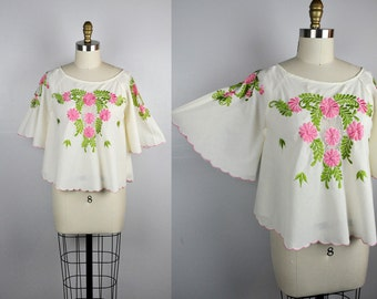 Embroidered Peasant Blouse Floral Embroidery Bell Sleeves Angel Wings Sleeves Hippie Bohemian Festival Beach Sheer Spring Summer S - M