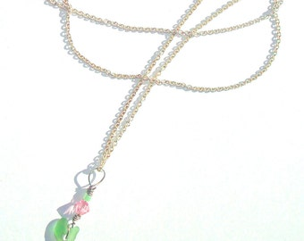 Lightweight Tiny Green Seaglass Heart and Pink Swarovski Crystal Silver Necklace