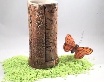 Brown Vase,Pencil Holder,Textured Porcelain, Brown Pottery Vase, Desk Accessory-Handmade Porcelain Vase