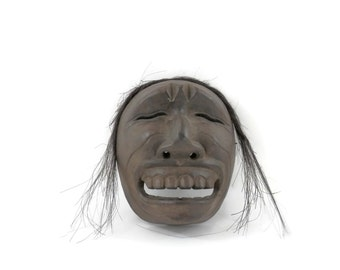 Primitive Horse Hair Carved Wooden Mask Northwest Tribal Arts