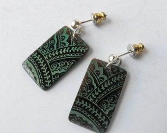 Bohemian Earrings - Rectangle Shell Dangle Earrings withGreen etched design by ElleBelleArt
