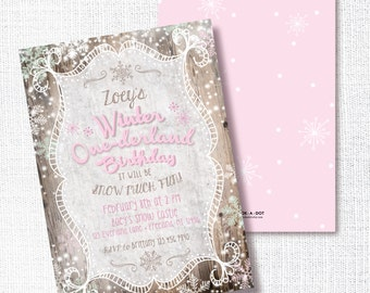 PINK WINTER ONEDERLAND first birthday invitation rustic wood One-derland little snowflake  winter wonderland snow much fun snowflake