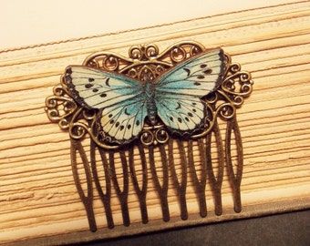 Blue and Bronze Butterfly Comb