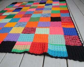 Vintage Squares Crocheted Afghan Primary Colors Black