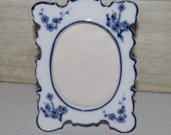 Andrea by Sadek Ceramic Photo Frame - Blue & White - Vintage- Home Decor- Picture Frame- Cherry Blossoms- Collectibles- Japan- Cottage Decor