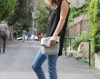 Fold over cross body bag, Mini messenger bag, Fabric Cross body bag, Beige bag, Long strap purse, Messenger bag women