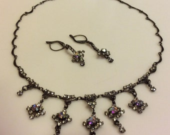 Antique Necklace with Beautiful Detail & Matching Earrings