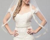 Single Tier Boho Ivory Crystal Corded Ribbon Edge Bridal Veil Wedding Accessory